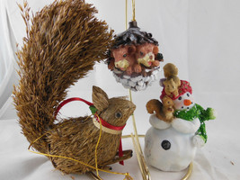 1998 Seagull Snowman Squirrel Theme & Pinecone Christmas Ornaments Lot of 3 - $11.87
