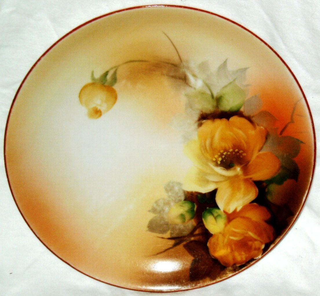VINTAGE Noritake PlateYellow Roses Orange Handpainted Made in Japan