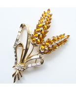 Corocraft Floral Rhinestone Hyacinth Brooch Amb... - $185.00