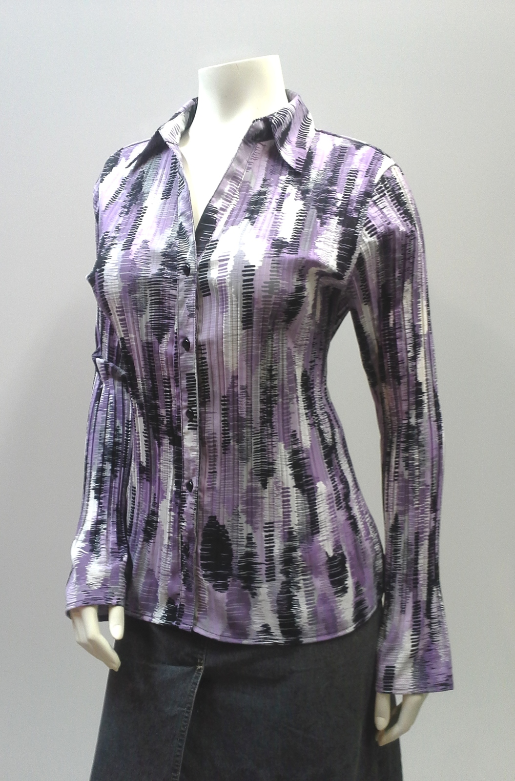 Primary image for Accordian Pleat Blouse with Bell Sleeves, Purple and Black Crinkle Pleated Shirt