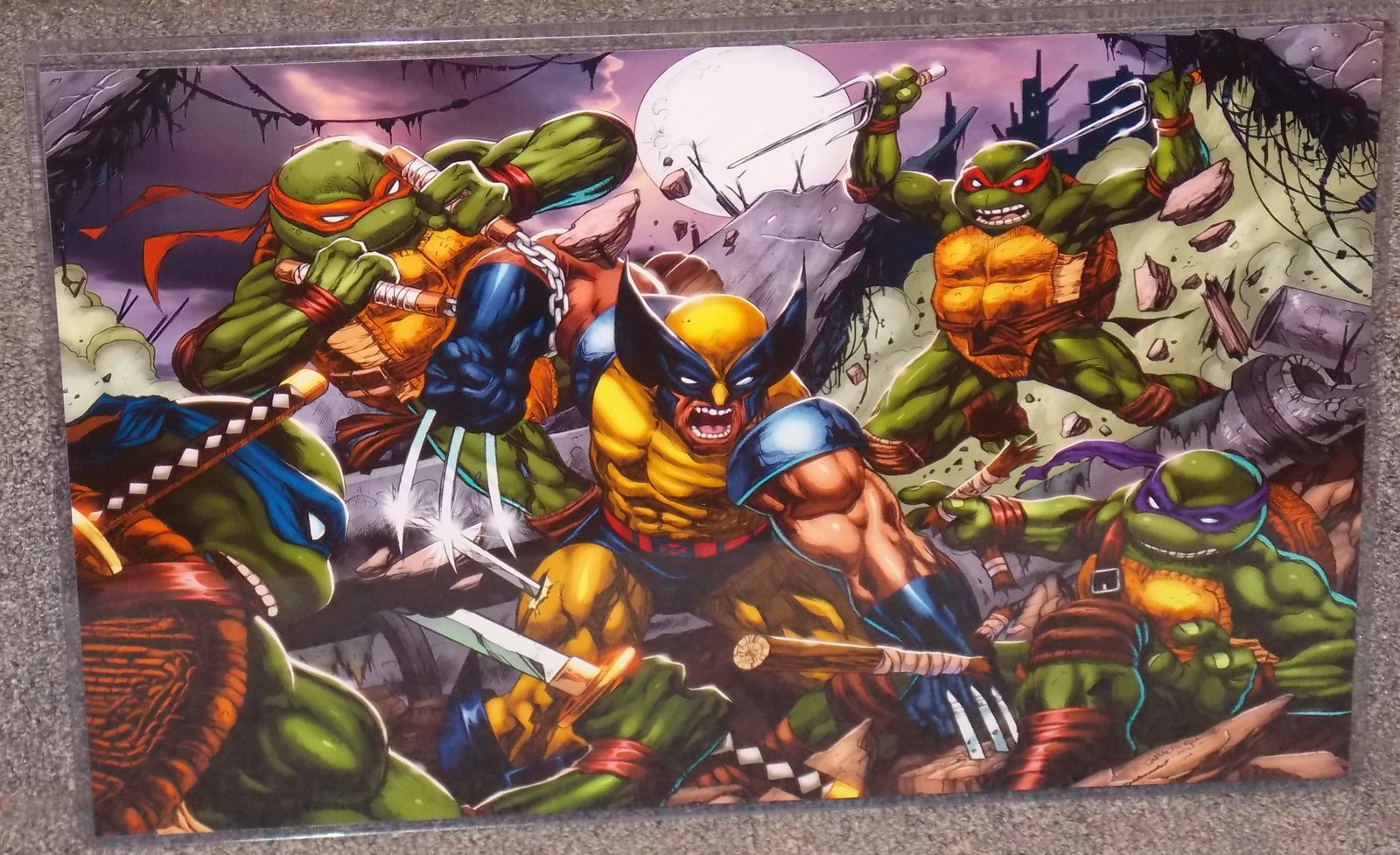 Primary image for TMNT vs Wolverine Glossy Print 11 x 17 In Hard Plastic Sleeve
