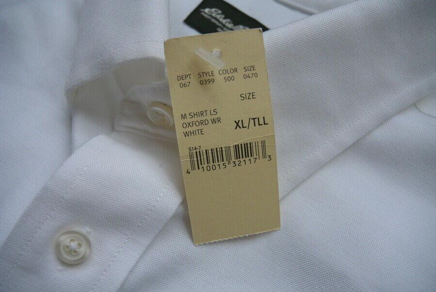 Eddie Bauer Oxford Antiarrugas Camisa Relaxed Fit XL Alto Algodón Blanco Nwt