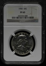 1950 Franklin Silver Half Dollar 50¢ Coin Proof PF65 NGC Lot A 495