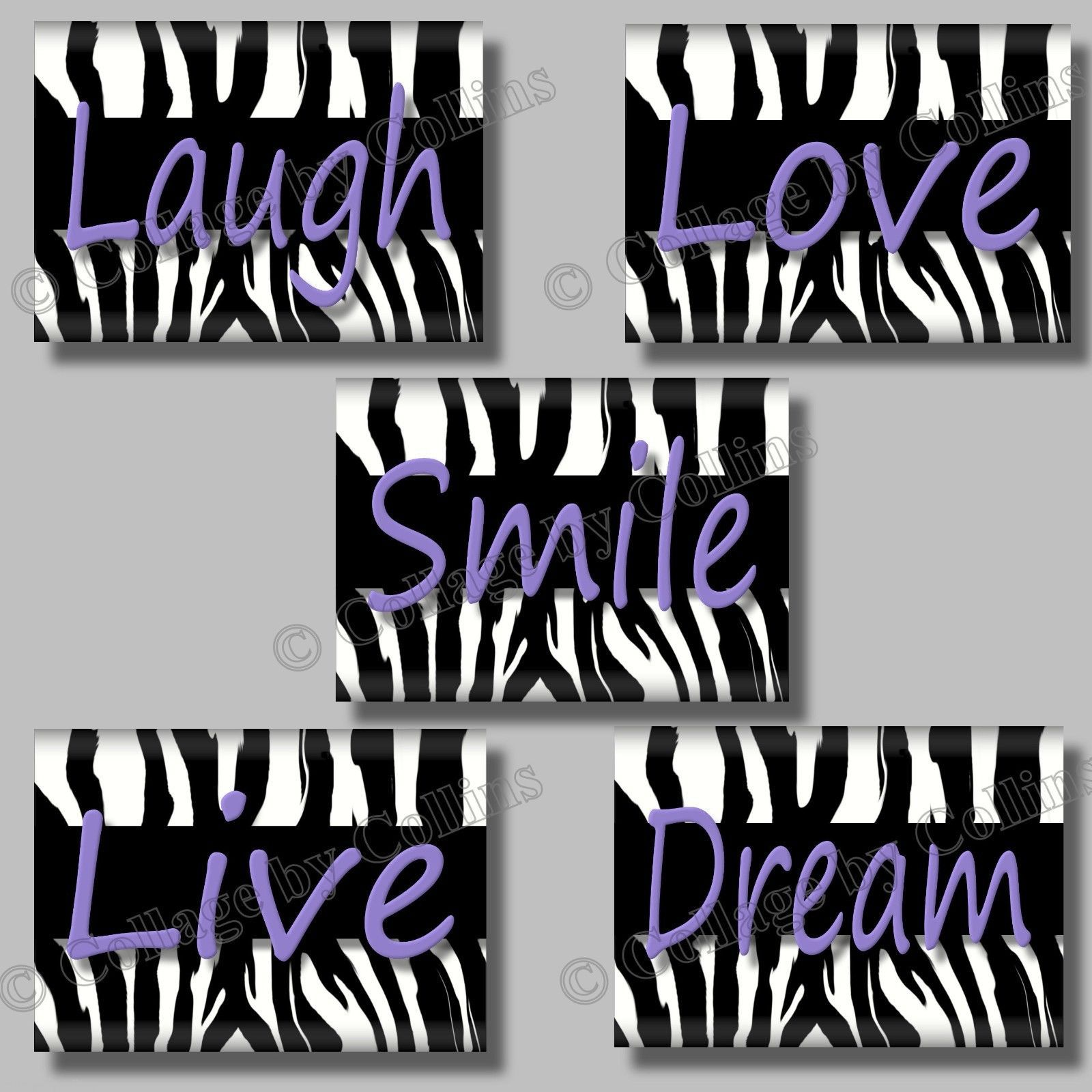 Primary image for (5) PURPLE ZEBRA Print Wall Art Girl Room Decor Teen LIVE LOVE DREAM SMILE LAUGH