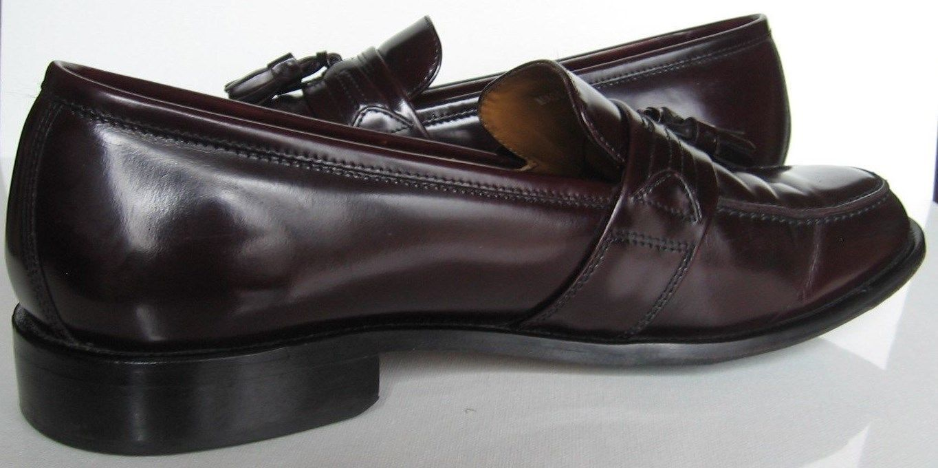 Bostonian sz 12 M Burgundy Leather Kiltie Tasseled Slip On First Flex Loafers