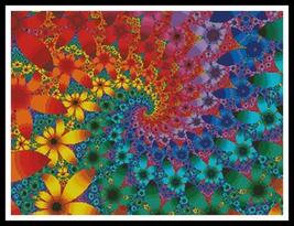 Fractal Flowers cross stitch chart Artecy Cross Stitch Chart - $14.40