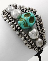 Skull Bracelet Carved Stone Turquoise Black Cord Antique Silver Day of the Dead - $12.99