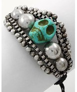 Skull Bracelet Carved Stone Turquoise Black Cord Antique Silver Day of t... - $12.99
