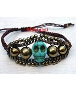 Day of the Dead Bracelet Brown Cord Antique Gold Turquoise Howlite Adjus... - $12.99
