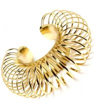 Circle Ring Bracelet Chunky Gold Cuff Bangle Av... - $16.99