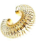 Circle Ring Bracelet Chunky Gold Cuff Bangle Avant Garde Jewelry Statement  - $16.99