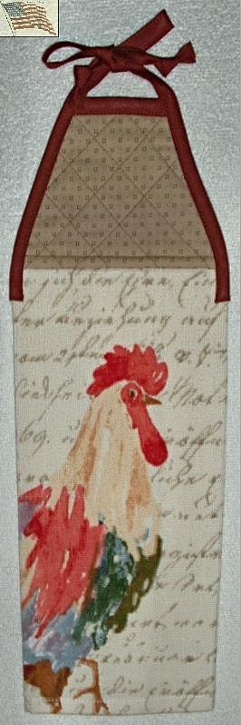 Primary image for Kitchen Towel - Quilted Top with Ties - Rooster and Words - Plush Terry