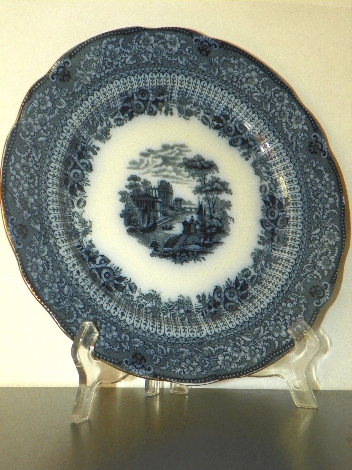 "Primary image for FLOW BLUE RIDGWAYS DINNER PLATE GRECIAN  WITH GOLD TRIM 9 3/4"" WIDE"