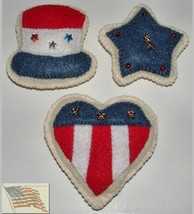 Felt Food - 4th of July Cookies - Set of 3 - Felt - Handmade - $9.00