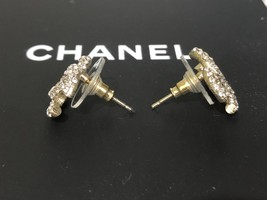 AUTHENTIC CHANEL GOLD RARE CC LOGO CRYSTAL STUD EARRINGS MINT image 5