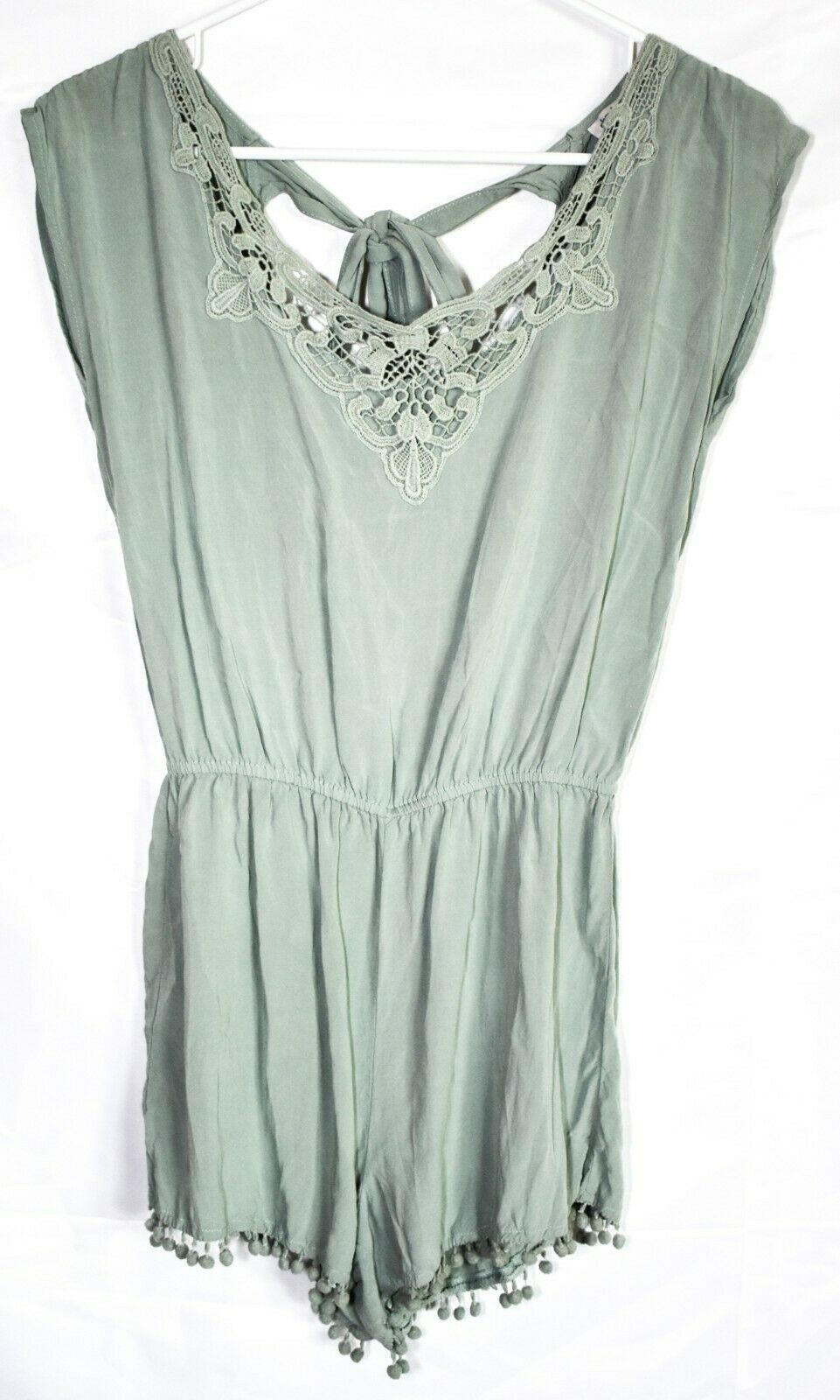 Charlotte Russe Pale Mint Green Sleeveless Tieback Romper w Lace Accents Size S