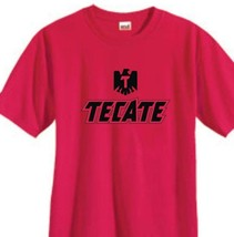 Tecate T-shirt Free Shipping Mexican beer cotton blend graphic printed red tee image 1