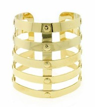 Armor Cuff Statement Bracelet Gold Bangle Avant Garde Designer Style  - $16.99