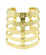 Designer Style Armor Cuff Bracelet Gold Bangle Avant Garde Statement - $18.99