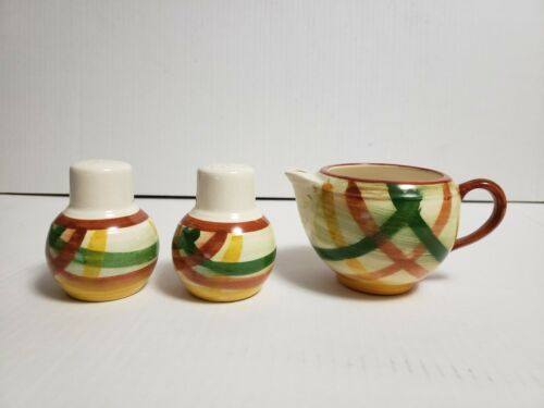 Primary image for Vernonware California Pottery HOMESPUN Salt & Pepper Shaker, Creamer - 3 Pc Set