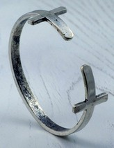 Sideways Double Cross Bracelet Antique Silver Avant Garde Designer Armor w - $10.99