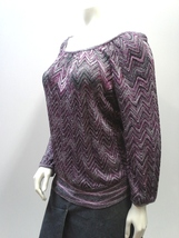 Purple Metallic Sweater, INC International Concepts, Boho Knit Peasant Top - $17.99