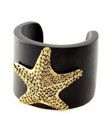Wooden Starfish Bracelet Embossed Antique Gold ... - $12.99