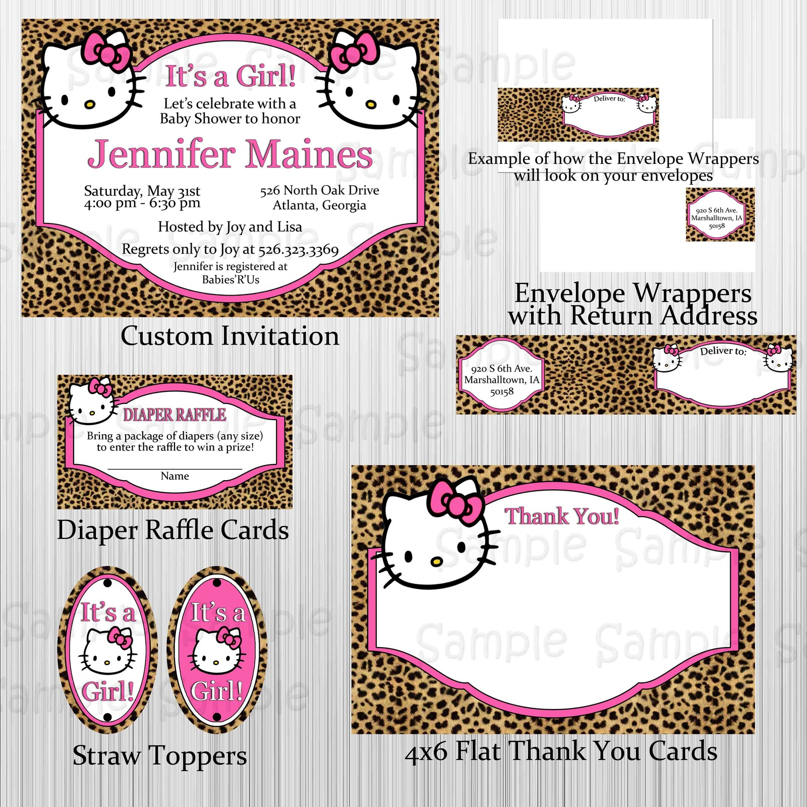Primary image for Cheetah Hello Kitty Baby Shower Party Package: Custom. Personalized, Invitation
