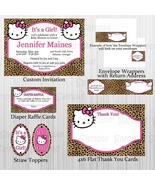 Cheetah Hello Kitty Baby Shower Party Package: Custom. Personalized, Inv... - $28.00