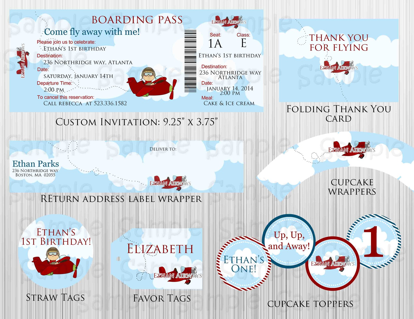 Airplane birthday baby shower party package custom for Baby shower decoration packages