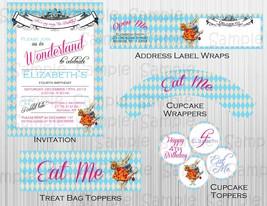 Alice in wonderland Birthday Party Package: Custom. Personalized, Invita... - $28.00