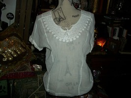 LUCKY BRAND Romantic Antique Porcelain White Embroidered Boho Blouse Size XS - $17.82