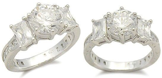 Primary image for WOMEN'S STERLING SILVER BAGUETTE & ROUND CZ ENGAGEMENT RING SIZE 8 (2 LEFT)