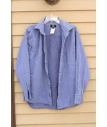 Men's CALVIN KLEIN 100% Cotton Large Lg L  Multiple Blue Striped Shirt - $29.20