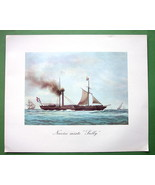 SAILSHIPS French Passanger Steamer Sully - 1963 Fine Quality Color Print - $21.42