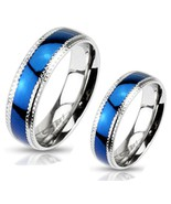 Couples Stainless Steel Blue IP Grooved Cut Ste... - $17.81