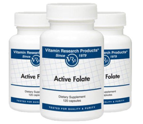 Active Folate, 800 mcg 120 cp 3 Pack by Vitamin Research Products