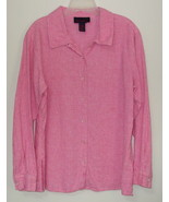 Womens Denim and Co. Pink White Checkered Long Sleeve Blouse Size L - $5.95