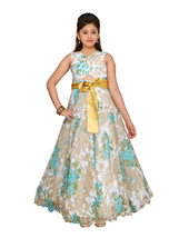 Designer Net Green Floral Party Wear Gown Dress for Girls - $35.49
