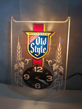 Vintage Old Style beer sign lighted back bar wall clock etched acrylic l... - $51.69