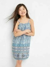 New Gap Kids Girls Blue Floral Spaghetti Straps Cotton Lined Ruffle Dres... - $22.99