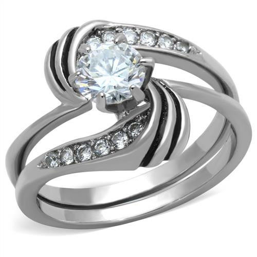 Primary image for 0.75 Ct Clear Round CZ Stainless Steel Swirl Wedding Ring Set, Size 5,6,7,8,9,10