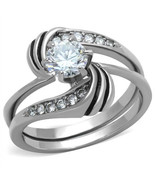 0.75 Ct Clear Round CZ Stainless Steel Swirl Wedding Ring Set, Size 5,6,... - $32.49