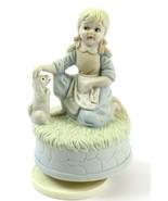 Vintage Music Box Artmark-Style Figurine Girl w/Dog Plays Where the Buff... - $21.77