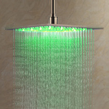 LED Shower Head Rainfall Square Bathroom Color Stainless Light Changing Steel - $86.74