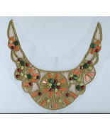 4 Vintage Beaded Embroidered Motifs Earth Tones Sequins Bead Applique Bi... - $19.99