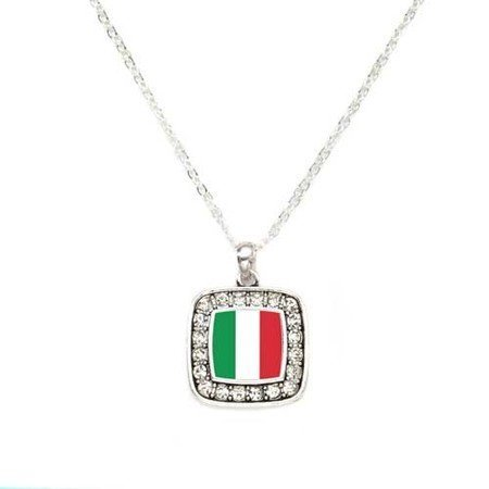 Primary image for Italian Flag Italy Pride Charm Classic Silver Plated Square Crystal Necklace