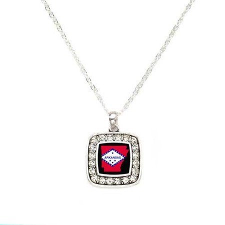 Primary image for Arkansas (AR) Flag Charm Classic Silver Plated Square Crystal Necklace [Jewelry]