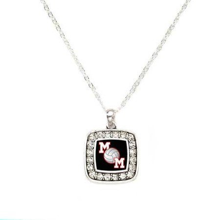 Primary image for Volleyball Mom Charm Classic Silver Plated Square Crystal Necklace [Jewelry]
