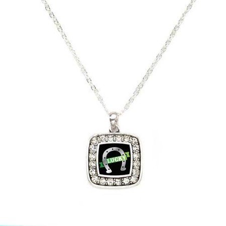 Primary image for Lucky HorseShoe Braided Charm Classic Silver Plated Square Crystal Necklace